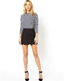 asos asos linen mini skirt with scallop hem at asos