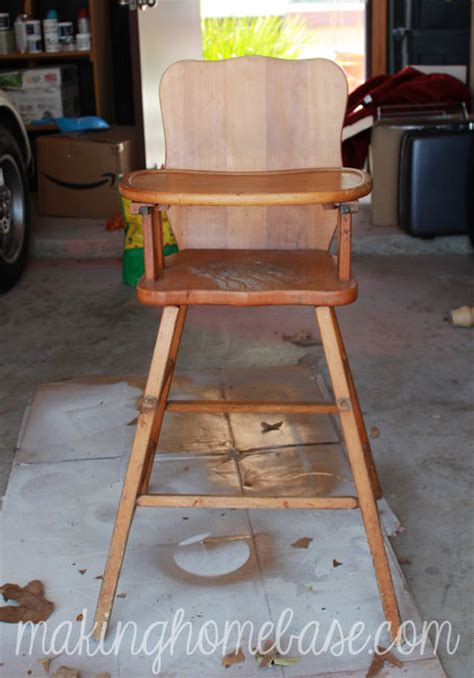 vintage wooden high chair painted with sloan chalk