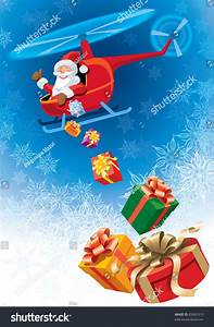 Happy Santa Claus Flying Helicopter Christmas Stock