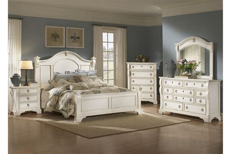 Antique White Bedroom Furniture by American Woodcrafters Heirloom Collection Poster Bedroom