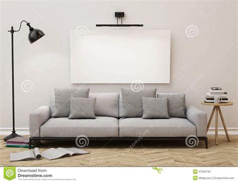 mock  blank poster   wall  living room
