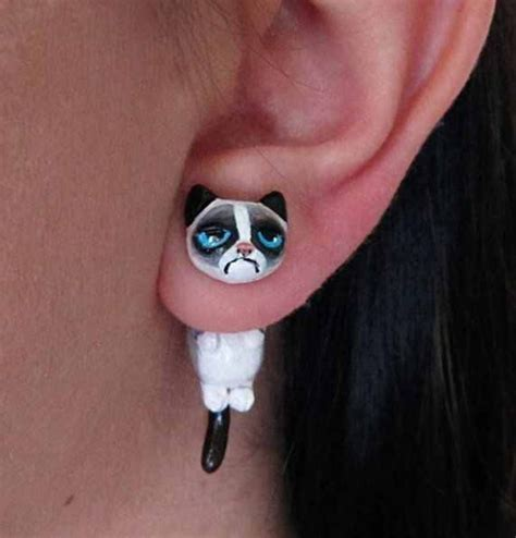 jewels earrings cute grumpy cat wheretoget