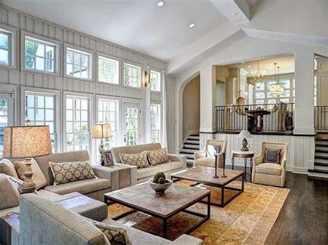 large open floor plan white living room traditional decor