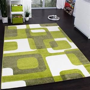 Teppich Grün Grau : designer teppich trendiger retro teppich kurzflor webteppich in gr n grau creme teppiche ~ Markanthonyermac.com Haus und Dekorationen