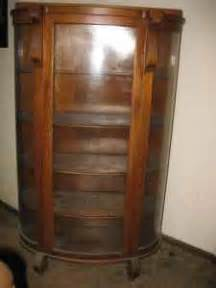 antique vintage curio cabinet curved glass oak