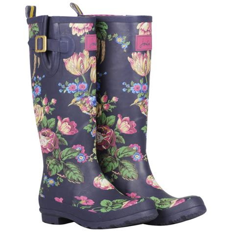 joules womens welly print wellies navy floral womens