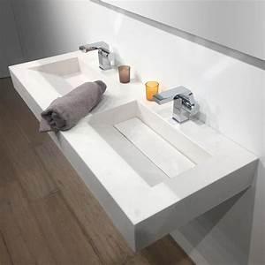 plan double vasque salle de bain suspendu 121x46 cm With robinetterie vasque salle de bain