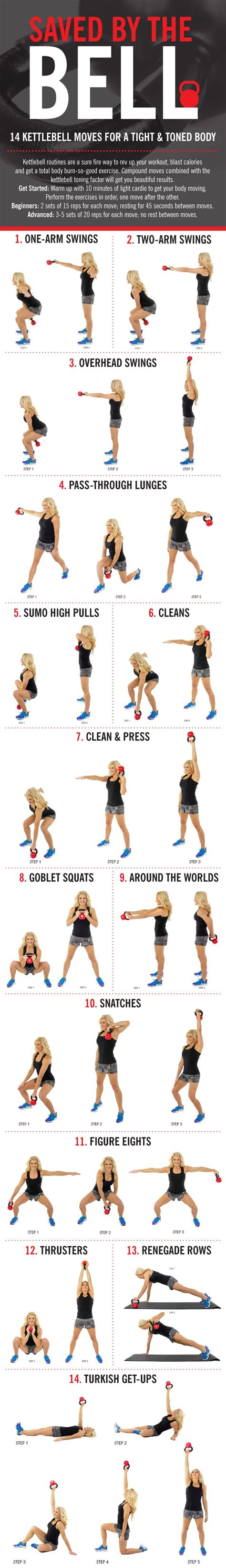 kettlebell exercises body toned simple infographic kettlebells tight health