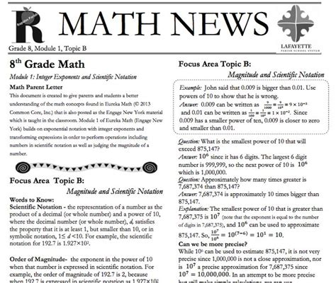 Grade 3 Module 1 Topic A Parent Newsletter Developed By 17 Best Images About Grade 8 Eureka Math On
