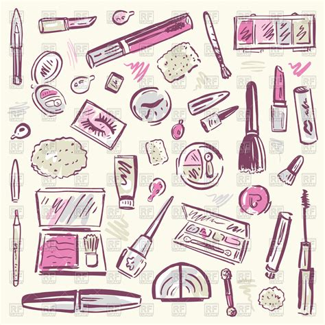 sketchy set  cosmetic  makeup products vector image