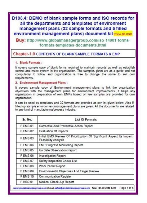 iso  sample forms  environment management plans