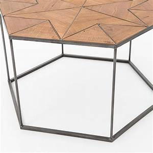 Faceted wood hexagon coffee table west elm for West elm geometric coffee table