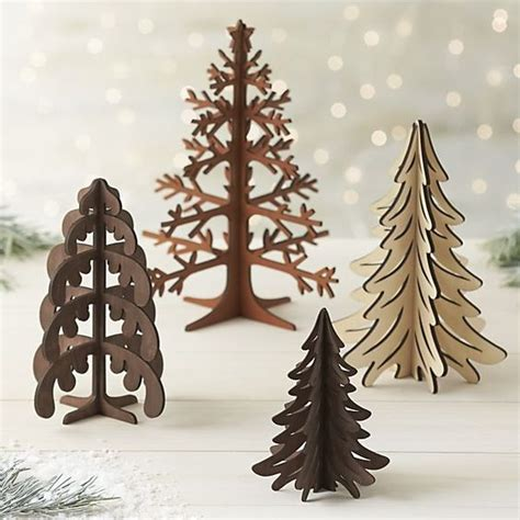 laser cut wood trees christmas trees crate and barrel