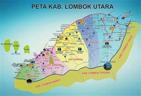peta kota peta kabupaten lombok utara klu