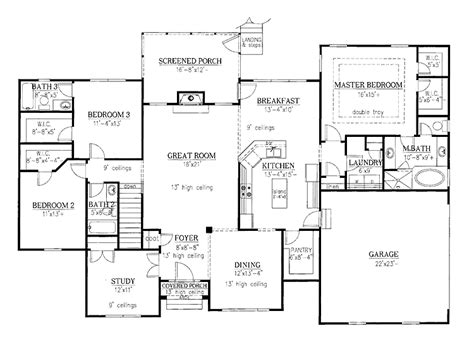 New American Floor Plans by Floor Plans Aflfpw17089 1 Story New American Home With 3