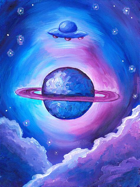 Saturn UFO Painting by Katie Clark