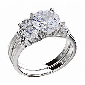 128 ct sterling silver cubic zirconia rhodium plated With rhodium wedding ring sets