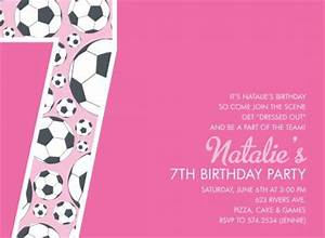 7th birthday girl card invitation   just b.CAUSE