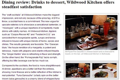 wildwood kitchen menu wildwood kitchen in bethesda md by robert wiedmaier