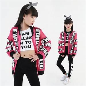 2017 new girl boy children hiphop hip hop costume jazz clothing pink fishnet coat for kid white ...