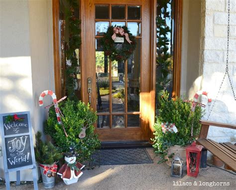 front door decorations lilacs  longhorns christmas