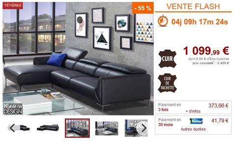 vente flash canap d angle vente flash canapé d 39 angle en cuir avenio prix 1 099 99