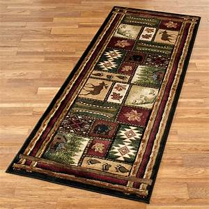Rustic lodge area rugs roselawnlutheran for Cabin bathroom rugs