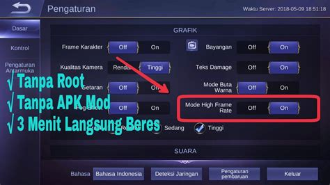 Tutorial High Frame Rate Mobile Legends Di Android (no