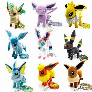 9pcs Lot Pokemon plush toys Stand Eevee Sylveon