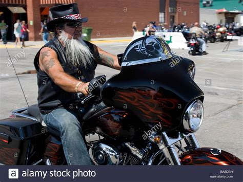 Top Hat Bearded Motorcyclist Annual Sturgis Motorcycle