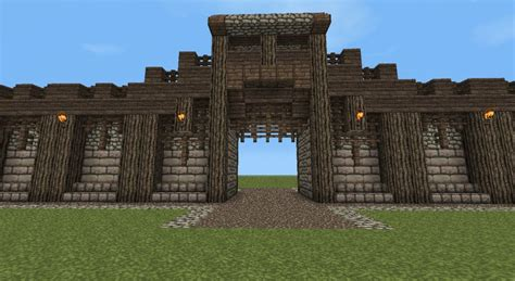 minecraft wall designs detailed wall entrance now with added guard