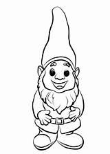 Gnome Coloring Printable Fairy Line Garden Interior sketch template