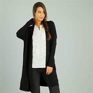 Gilet Long Noir Femme : gilet long en maille fine jauge femme noir kiabi 15 00 ~ Voncanada.com Idées de Décoration