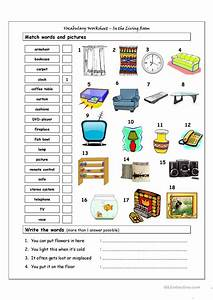 vocabulary matching worksheet in the living room With furniture in the living room worksheet