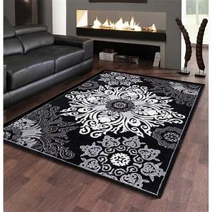 tapis floral noir et gris pour salon au velours brillant With tapis noir salon