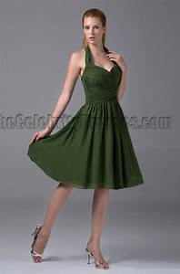 cheap short halter dark green bridesmaid cocktail dresses With green cocktail dress for wedding
