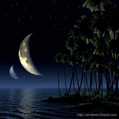 Night View With Tree And Moon Ipad Background Wallpaper