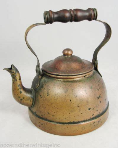 details   vintage tagus copperware solid copper tea pot kettle   lid tag portugal
