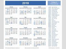2018 Calendar With Holidays 2018 calendar printable