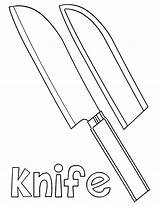Knife Coloring Knife2 sketch template