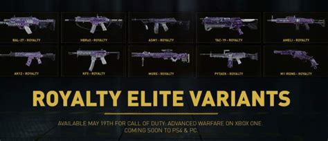 aw weapons  sac royalty elite variants