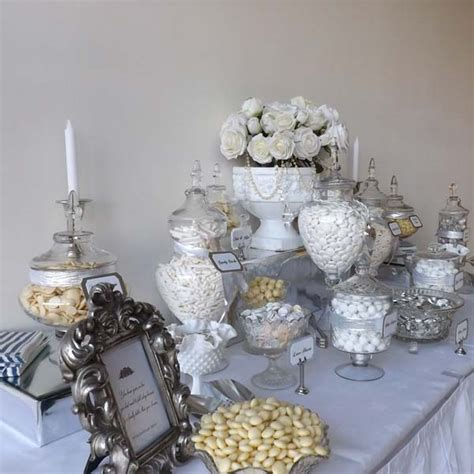 Wedding Candy Buffet in White and Silver   Candy Buffets l Sweetie Tables l Dessert Tables l