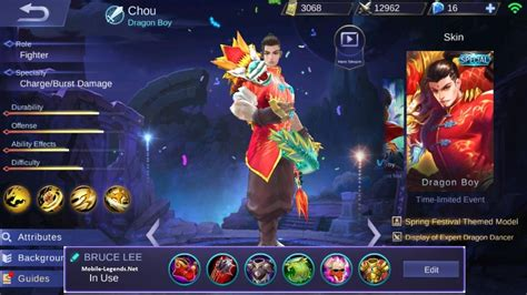 chou mobile legend chou new bruce cdr tank build 2019 mobile legends