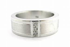 brushed and polished men39s wedding band with a vertical With man s wedding ring with diamonds