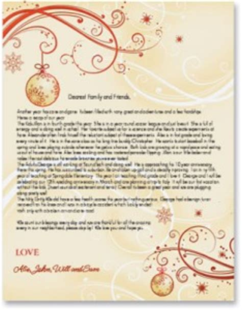 christmas letter ideas newsletters on high quality border paper 20848 | HF5821 234x300