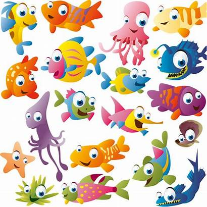 Cartoon Fishes Fish Funny Vector Cliparts Fishing