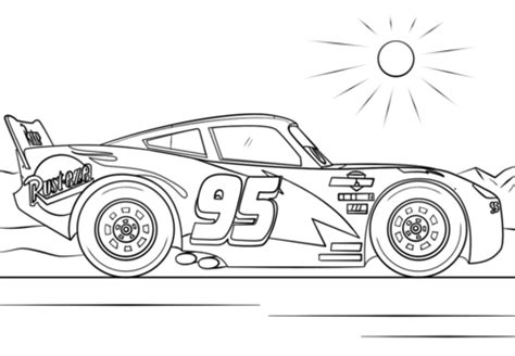Lightning McQueen from Cars 3 coloring page from Disney