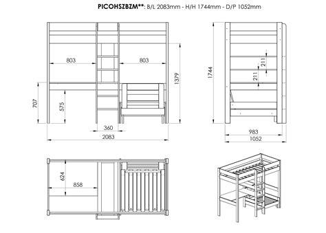 lit avec bureau lit mezzanine avec bureau et fauteuil en pin massif