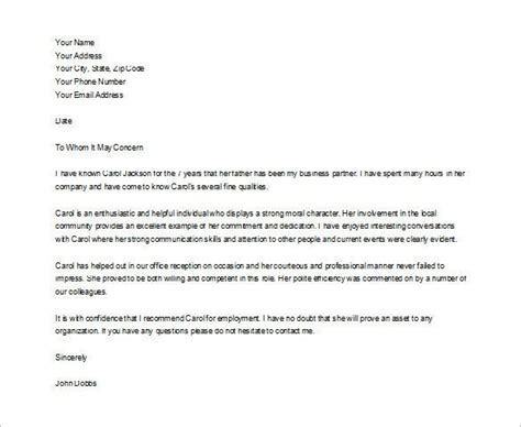 character reference letter   friend sample character