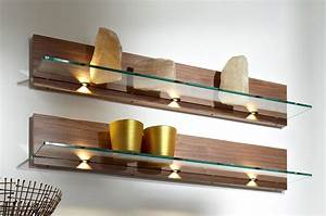 Floating Brown Wooden Books Shelves With Glass Shelves